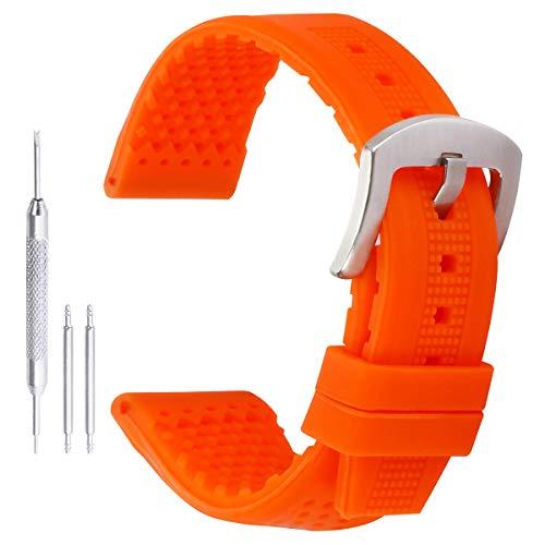 24mm hypoallergenen Silikon-Uhrenarmband im Freien wasserdichte Taucheruhrenarmband für Männer in orange Gummi (Männer Uhr Armitron)