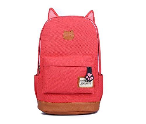 Fashion Plaza super süß Katze Ohre Design Canvas Rucksack Rucksäcke für Mädchen Schuler Kinder in der Schule mehrere Farben C5004 (wassermelon)