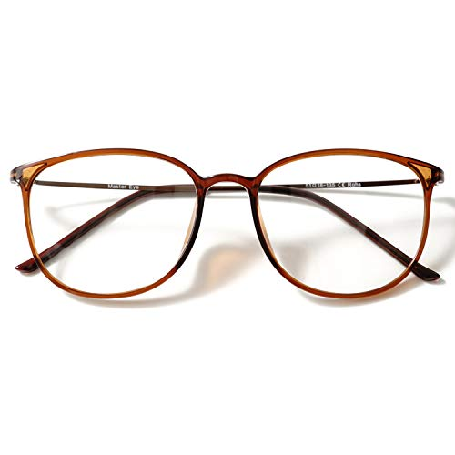 KOOSUFA Klassische Retro Brillengestelle Nerdbrille Herren Damen Dünne Brille Ohne Sehstärke Streberbrille Groß Pantobrille Ultra Licht TR90 Brillenfassung mit Etui (Braun)