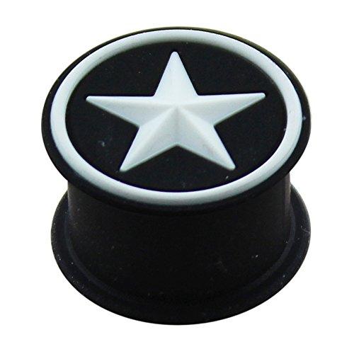 18MM geprägte weißen Stern auf schwarzem Silikon Doppel flammte Ohr Piercing Plug -