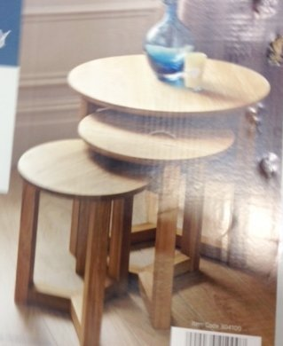 Nest of 3 Round Tables Stylish Modern Table Oak Effect
