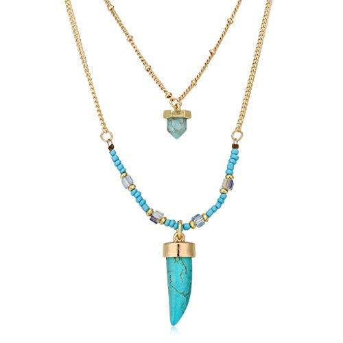 Frauen Geburtsstein Blau-Türkis-Stein Farbige multi Strang Layered Kette Modeschmuck Haifisch-Zahn-Halskette (Multi Farbige Kostüme Schmuck)