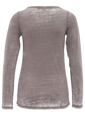 BLUE MONKEY Langarmshirt mit Frontprint Marilyn Style 618-3519 Damen Langarm 110017 Steel Grey