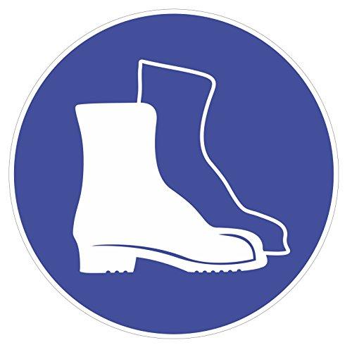 "Preisvergleich Produktbild Gebotsaufkleber ""Fußschutz benutzen"",  Art. hin_181,  DIN 4844-2,  Ø 20cm,  Hinweis,  Achtung,  Warnhinweis,  Gebotshinweis,  Fußschutz benutzen,  Sicherheitsschuhe"