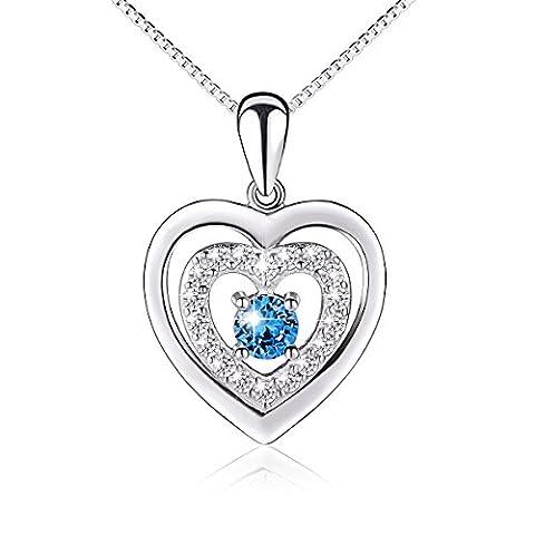 Argent sterling S925double cœur Bleu Amour éternel Pendentif Collier