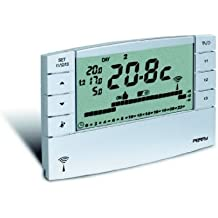 Perry 1TXCRTX05chronothermostat semanal inalámbrico con salida en radiofréquence 868,35MHz 3programas configurés + 1programa libre 2niveles de temperatura + anticongelante entrada palanca telefónica función Master Alcance de 30A 130m 2pilas alcalinas 1,5V AA