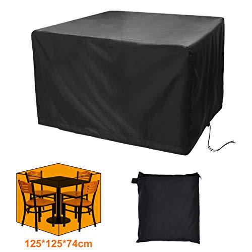 CT Schutzhülle für Gartentisch Abdeckung für Quadratischer Tisch 4 Sitze Reißfest Wasserdicht Oxford Stoff 125X125X74cm
