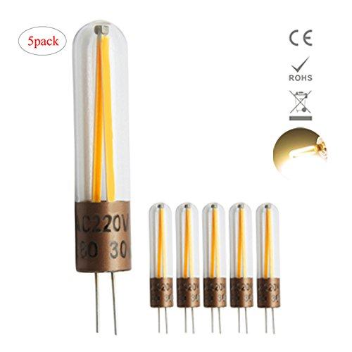 Preisvergleich Produktbild 1819 5er Pack G4 2W LED Lampen, 2 Filament Omni-direktionale Licht, 220LM, Ersatz für 20W Halogenlampen,220V AC / DC, Warmweiß,360° Abstrahlwinkel, LED Birnen, LED Leuchtmittel