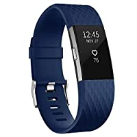 For Fitbit Charge 2 Bands, Adjustable Replacement Sport Strap Bands for Fitbit Charge 2 Smartwatch Fitness Wristband Small-Blue