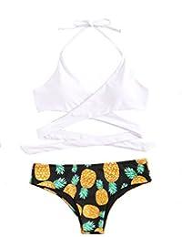 ROMWE Maillot de Bain 1 Pièce Bikini à Bretelle Push-up Rembourré Bikini de Plage Piscine Tankini Monokini Noir XL