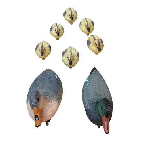 Teichfigur Schwimmenten Set Erpel, Ente, Küken Teichdeko Stockente Entenfamilie