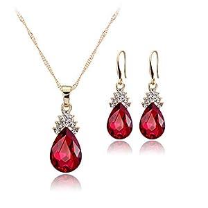 Demarkt Mode Schmuck Sets Halskette Ohrringe Set Brautschmuck Wassertropfenform Silberfarbe