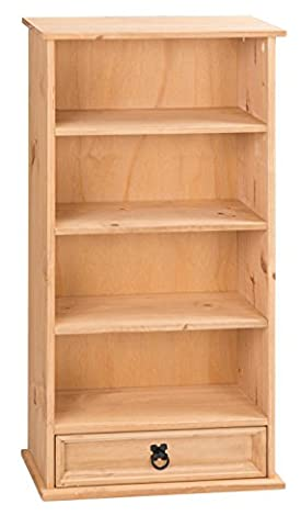 Mercers Furniture Corona 1-Drawer Bookcase and DVD Storage Rack - Pine