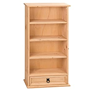 41WHxe0ZTXL. SS300  - Mercers Furniture Corona 1-Drawer Bookcase and DVD Storage Rack - Pine