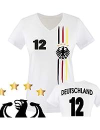 Damen Fußball V-Neck Shirt bedruckbar - WUNSCHNAME & NUMMER - WM / EM / DEUTSCHLAND - Tshirt mit V-Ausschnitt für Damen in Weiß - Deutschland Trikot in div. Größen