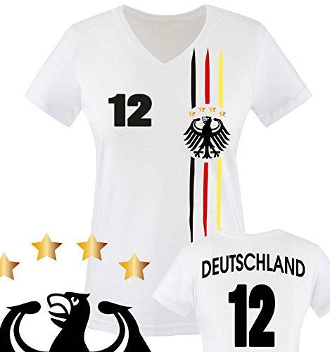 Comedy Shirts - WM 2018 | M1 | VORNE + HINTEN | 12 - Damen V-Neck T-Shirt - Weiss / Schwarz-Rot-Gelb Gr. L (Damen Fußball-trikot)
