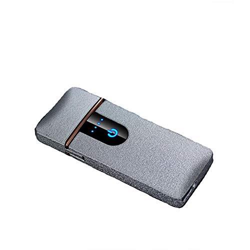 LXYIUN Induktions-Zigarettenanzünder Aus Metall,USB Aufladen Winddicht Feuerzeug Geschenk Zigarettenanzünder,Silver