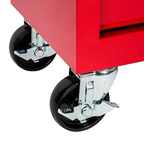 TecTake Werkzeugwagen Werkstattwagen   5 verschließbare Schubfächer   Kugelgelagerte Gleitschienen   auf Rollen - 9