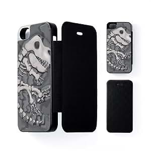Dinosaur Fossil Coque Noire à Rabat Snap-On Protection Rigide Arrière pour Apple® iPhone 5 / 5s de Nick Greenaway + Livré avec une protection d'écran GRATUITE