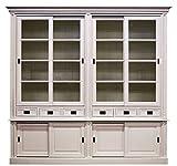 Casa Padrino Landhausstil Schrank mit 8 Schiebetüren und 6 Schubladen Weiß 250 x 52 x H. 240 cm - Landhausstil Möbel