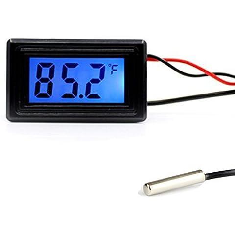 Keynice Termómetro digital, Conversor de Grados Celsius / Fahrenheit, DC 4-25V KN-125-BK