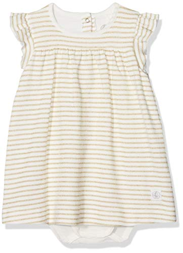 Petit Bateau Robe Body MC Robe Bébé Fille Blanc (Marshmallow/Dore) 0-3 Mois (Taille Fabricant: 1M 1 Mois) Lot de