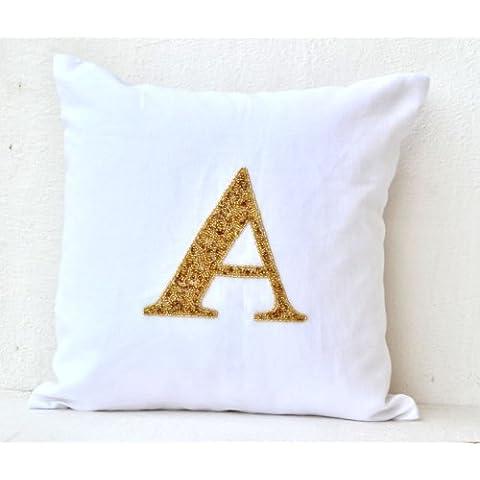 Amore Beaute Handmade Copricuscino personalizzabile con lustrini Monogram su bianco Linen- personalizzato monogramma–Federa per cuscino bianco–Fodera per cuscino divano cuscino, Lino, Bianco, 60 x 60 cm