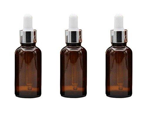 Ericotry Glasflaschen mit Augentropfen aus Glas, 15 ml, leer, nachfüllbar, ätherisches Öl, Parfüm, Aromatherapie, Fläschchen mit weißem Ruuberverschluss und silberfarbenem Kreis, 3 Stück
