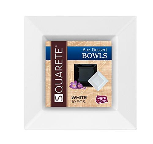 squarete 5Unze quadratisch weiß Dessert bowlsl schwer Pflicht Elegant Einweg 5Oz Quadrat Dessert Schalen 10Schalen Pro Paket