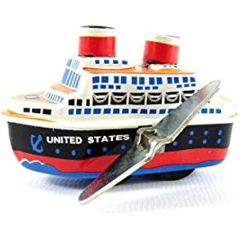 Avvolgere Piccolo giocattolo di latta Nave da crociera in barca a vapore dal Giappone - Nave Tin