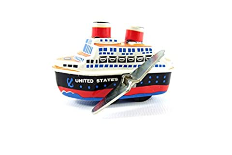 Wind up Small Tin Toy Cruise Ship Steam Boat from Japan - Nave Tin
