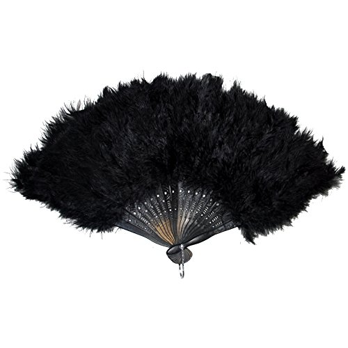 Tanz Federn Kostüm Mit - Spassprofi Federfächer Schwarz mit echten Federn Fächer Tanzfächer Handfächer für Tanz Charleston Kostüme