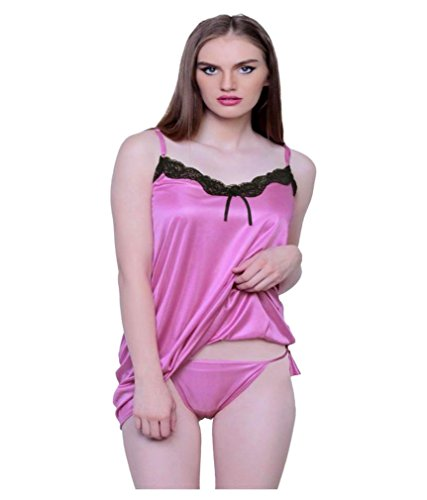 Bomshel Women Intimate Pink Satin Babydoll Lingerie with Panty