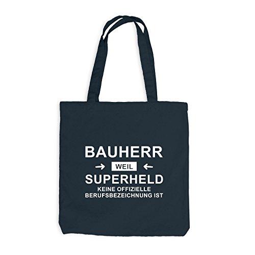 Jutebeutel - Bauherr Superheld - Hero Richtfest Hausbau Dunkelgrau