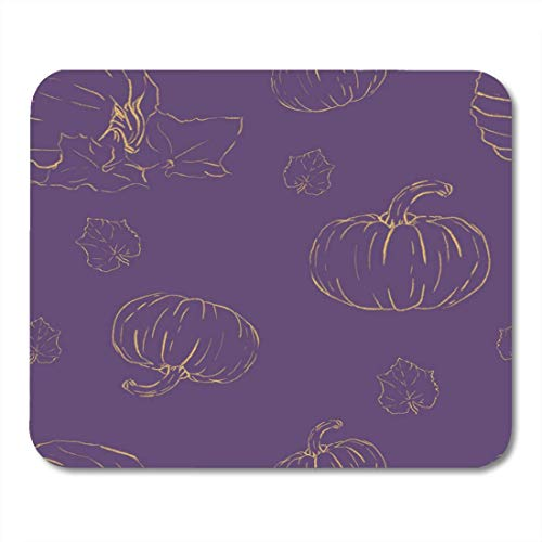Deglogse Gaming-Mauspad-Matte, Halloween Orange Autumn with Pumpkins Violet with Pumpkin's Yellow Paths Prints Fall Holiday Mouse Pad,Desktop Computers Mouse Mats,