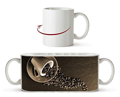 Kaffee Tasse mit Kaffeebohnen Effekt: Sepia als Motivetasse 300ml, aus Keramik weiß, wunderbar als...