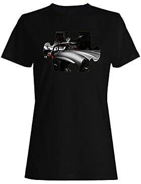 Rompecabezas viejo vintage hermoso coche camiseta de las mujeres e601f