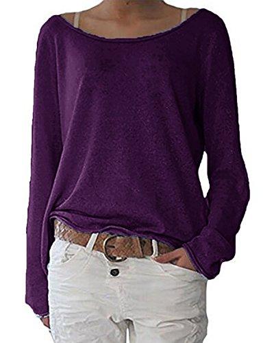 ZANZEA Damen Langarm Lose Bluse Hemd Shirt Oversize Sweatshirt Oberteil Tops Y-lila EU 44/Etikettgröße L