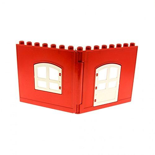 Gewölbte Fenster, Wand (Bausteine gebraucht 1 x Lego Duplo Wand Element komplett rot weiß mit Fenster Tür Oben gewölbt Puppenhaus 31022 31023 51261 51260)