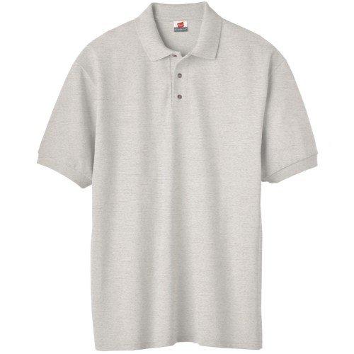 Hanes Herren Baumwolle Poly Welt Kragen und Manschetten Short Sleeve Pique Polo Shirt Grau - Ash