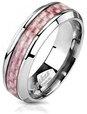 Paula & Fritz® solider Titanring silber Carbon P Pem Carboninlay Ringgrößen: 47(15) – 60(19) R-TI-4370-6