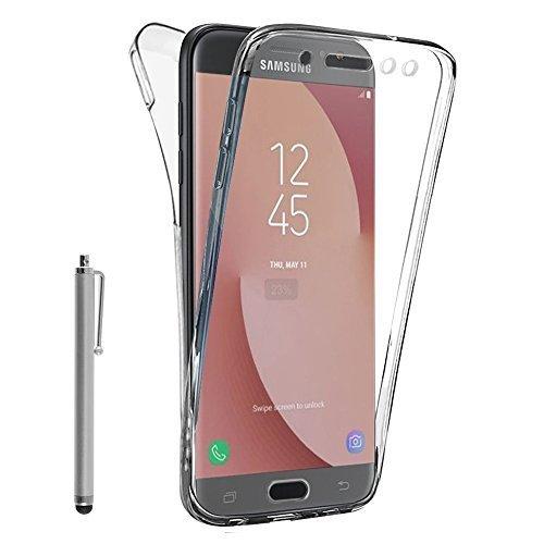 VCOMP Hülle Cover Silikon Gel transparent Ultra- dünn 360° Schutz Integral vorne und hinten für Samsung-Galaxy J7 (2017) SM-J730F/ds/J7 (2017) Duos J730F/ds - TRANSPARENT + Eingabestift (Auto Duo)