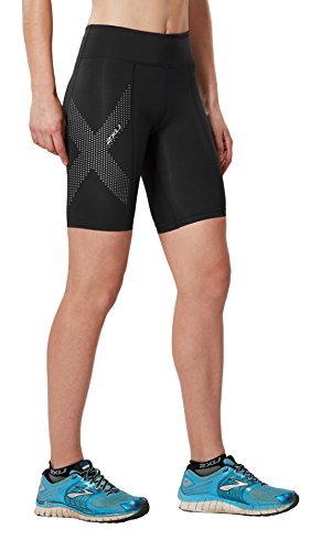 2XU Damen Kompressionsshorts Mid-Rise Athletic, Damen, Black/Dotted Reflective Logo, Small (Tri-shorts Damen)