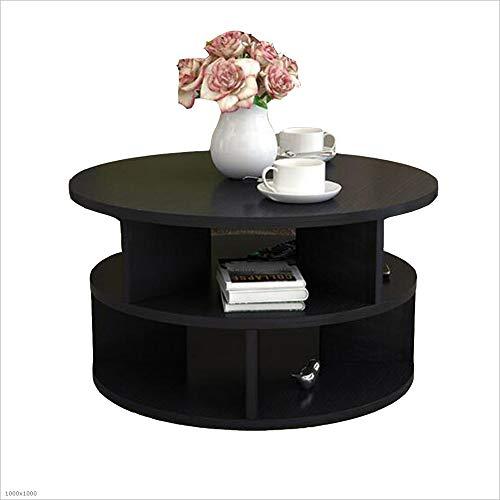 XIA Table de chevet, bout rond, table d'appoint, coin canapé, meuble bureau à domicile noir, rose, blanc, bois (2 tailles) (Couleur : NOIR, taille : D50cm)