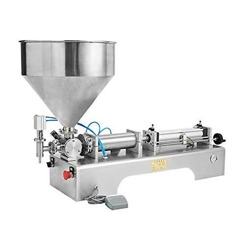 IDABAY Abfüllmaschine Maschine Füllmaschine Pneumatische Füllpaste und Flüssigkeit Horizontal Halbautomatischer Einzelkopffüller für kosmetisches Cremeshampoo mit Pedal 100-1000ML -