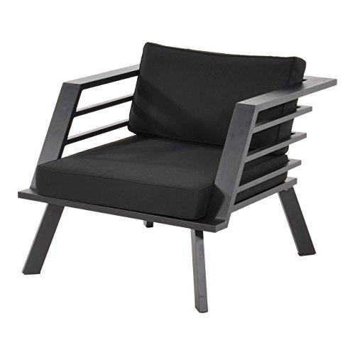 Loungestuhl, Alu, Spun-Polyester Kissen in schwarz, Wetterfester Metall Gartenstuhl. Ideal auch als...