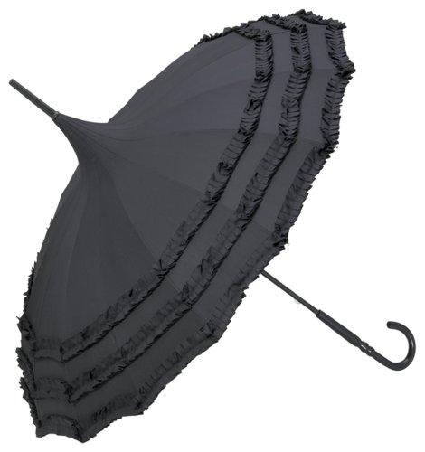 VON LILIENFELD® Regenschirm Mode Damen Sonnenschirm Brautschirm Hochzeitsschirm Pagode Rüschen Amelie schwarz