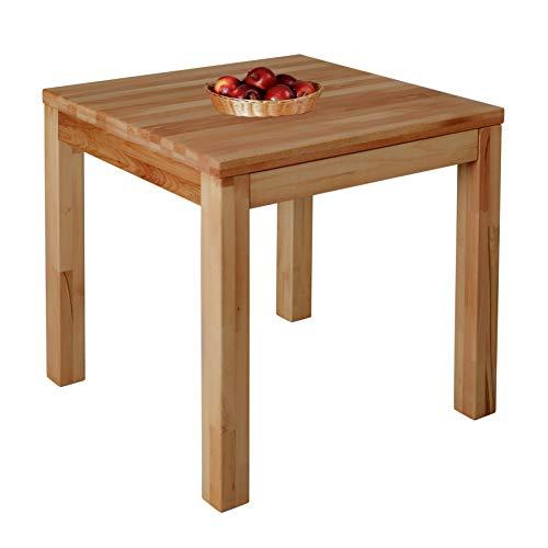 Krok Wood Milano Massivholz Esstisch in Buche FSC 100{8cd12980751b956470f92fc5a8926617afa990d9c0426f446fbacdf79d6eb962} massiv Tisch geölt Buchenholz Esszimmertisch für Küche praktischer Küchentisch Fester Holztisc (75 x 75 x 77 cm)