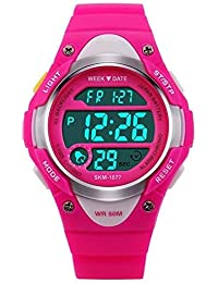 V2A Digital Boys' & Girls' Watch (Pink Dial Pink Colored Strap)