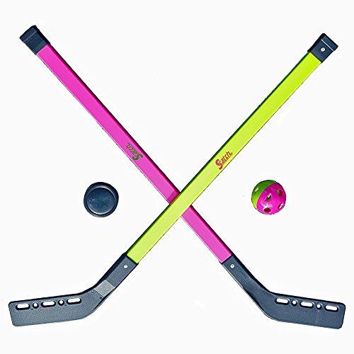 Kinder Streethockey SET Feld Eis Halle Straßen Hockey Spiel 2 Schläger 1 Ball 1 Puck